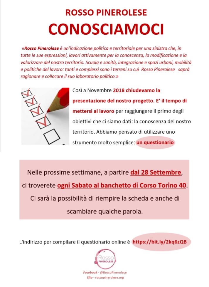 Comunicato QUESTIONARIO - ROSSO PINEROLESE 20190920