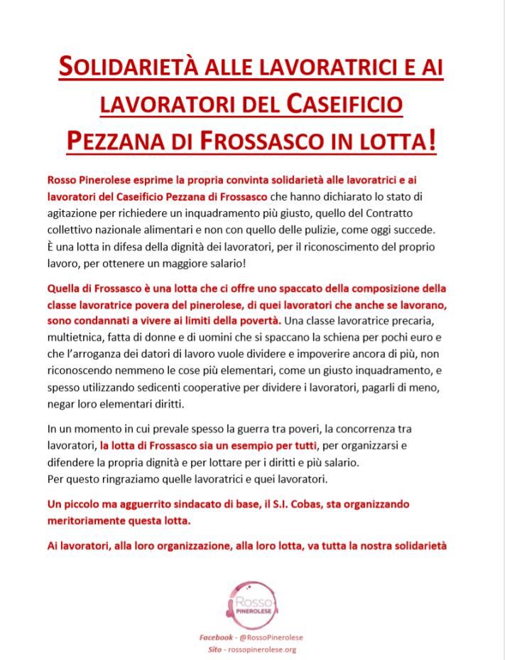 Solidarietà ai lavoratori del Caseificio Pezzana di Frossasco in lotta